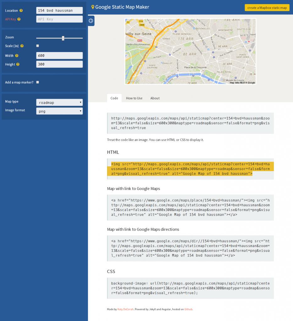 Google Static Map Maker a static map API helper